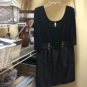 Xhilaration Jean/Cotton Grey and Black Dress